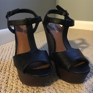 Black Peep Toe Wedge Sandals